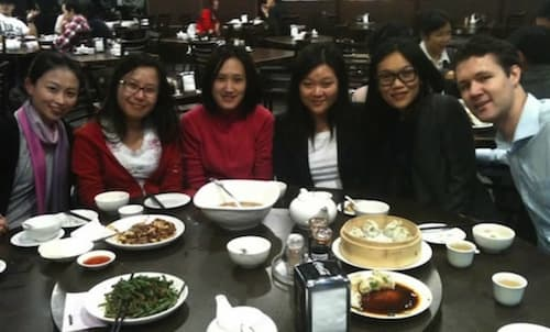 Chinese teacher, Christine, having dinner with her students in Sydney